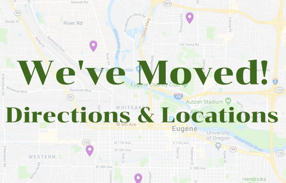 We've moved! Directions and locations